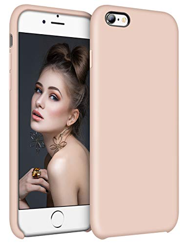 Vofolen Cover for iPhone 6S Plus Case iPhone 6 Plus Shockproof Raised Lip Silicone Rubber Bumper Armor Colorful Slim Hard Shell Cushion Lining Protective Case for iPhone 6S Plus 6 Plus (Pale Pink)