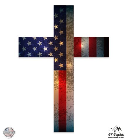 Cross American Flag Patriotic God Bless America - 3