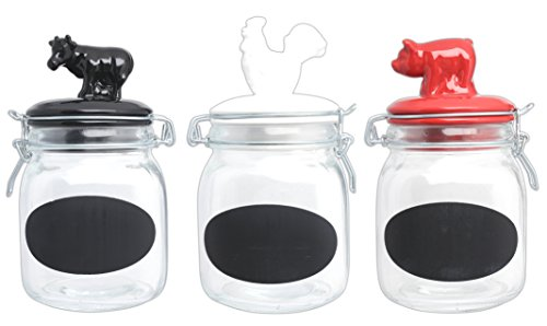 Set of 3 Assorted Glass Chalkboard Cannisters with Bale & Gasket Ceramic Lid - Pig, Cow, and Rooster