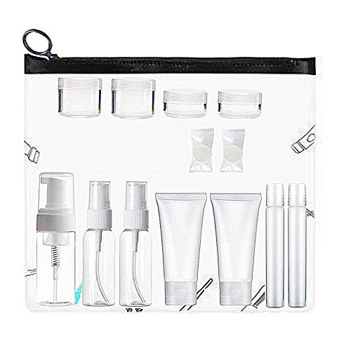 Plastic Travel Size Toiletries Bottles and Jars Set, TSA Approved, BPA Free Portable Makeup Cosmetic Liquid Cream Empty Travel Containers with Clear Case - 14Pack