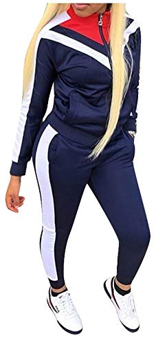 Women 2 Piece Outfits Tracksuit Sets Color Block Full Zip Long Sleeve Hoodie and Long Pant Navy L
