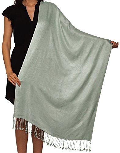 World Of Shawls Unisex Plain Pashmina Scarf Shawl Stole Wrap 100% Viscose Factory Clearance SEASONAL COLOURS (Light Silver)