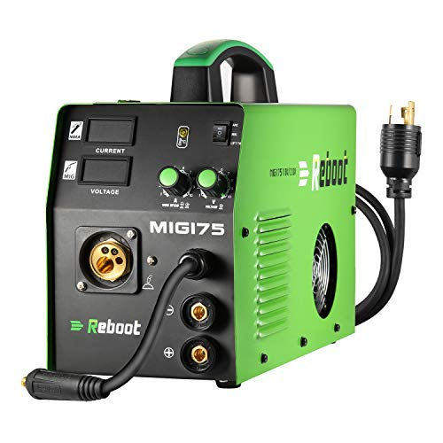 Mig Welder Dual Voltage Flux Core - Reboot MIG175 Mig Lift Tig Welding Machine 110V/220V Gas/Gasless IGBT Inverter 175 Amps Stick/Lift Tig/Mig 3 in 1 Welders 2.2/11LBs Flux Core Wire (MIG175)
