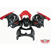 VITCIK (Fairing Kits Fit for Kawasaki EX250R Ninja 250 EX-250R ZX250 2008 2009 2010 2011 2012) Plastic ABS Injection Mold Complete Motorcycle Body Aftermarket Bodywork Frame (Black & Red) A017