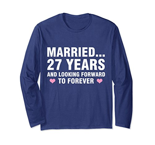 Unisex 27th Wedding Anniversary Gifts For Him Her Long Sleeve Tee XL: Navy