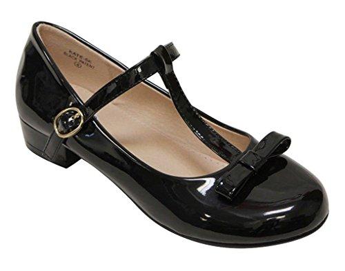 [Anna Kate-5K Kids Low Heel strap Bow T-Strap Mary-Jane Shinny PU Black 11] (Black Kids Shoes)