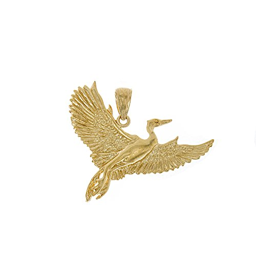2d Pendant (14k Yellow Gold Nautical Charm Pendant, Crane Bird Flying 2D, High Polish)