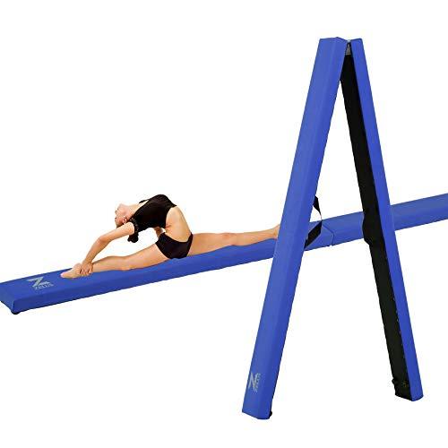ZELUS 8 ft /9.5 ft Folding Gymnastics Balance Beam, Floor Balance Beam with Carry Handles Anti-Slip Base for Kids, Beginners and Professional Gymnasts (8ft, Blue)