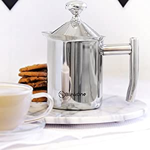 BlinkOne Milk Frother: Fine Mesh Manual Operated Hand Pump Foamer; Coffee Tea Friendly (14 Oz)