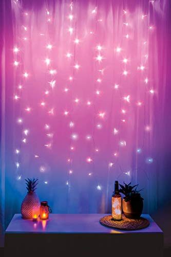 Merkury Innovations Cascading LED Window Curtain String Lights Wedding Party Home Garden Bedroom Outdoor Indoor Wall Decorations, Pink Ombre Lights -