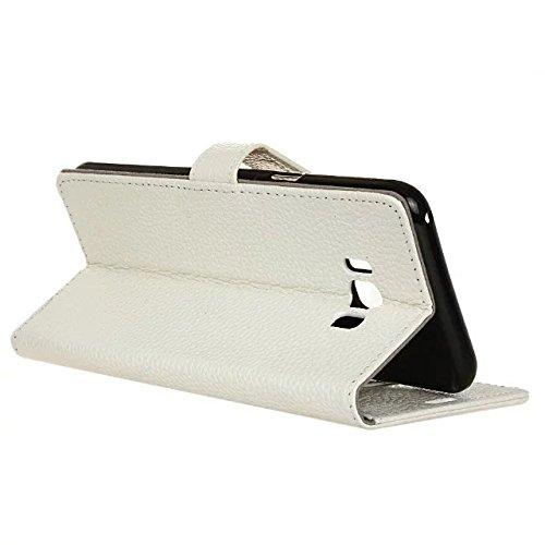 JIALUN-Personality teléfono shell Funda protectora suave superior de la caja de la cartera del cuero auténtico con soporte y marco de la foto para Samsung Galaxy S8 Plus Seguridad y Moda ( Color : Whi White