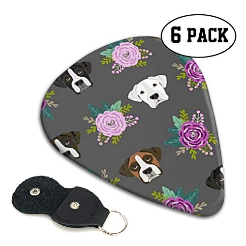 GUIYTQ5R Guitar Picks 6Pcs,Boxer Dogs Floral Guitar Plectrums for Your Electric,Acoustic,Ukulele,or Bass Guitar, 3 Thickness 0.46/0.71/0.96mm