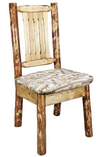 "Montana Woodworks Glacier Country Collection Dining Side Chair with Wildlife Pattern Upholstered Seat - Professionally finished in the Unique Glacier Country Collection Style stain and lacquer Seat Height 18""; 350 Pound Capacity Wildlife patterned, ultra-comfortable upholstered seat - kitchen-dining-room-furniture, kitchen-dining-room, kitchen-dining-room-chairs - 41ApkeE1MKL -"