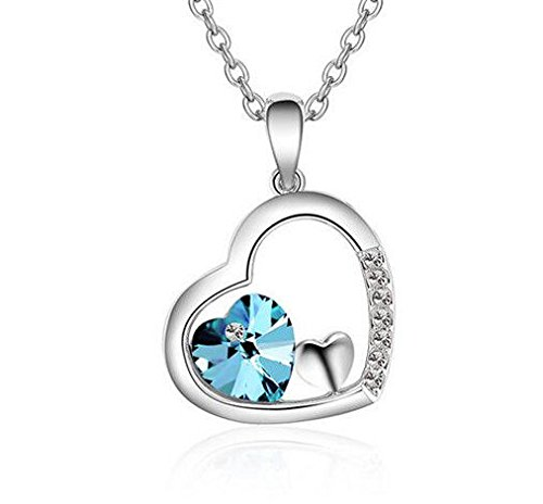 New Womens Heart Sky Blue Crystal Rhinestone Silver Chain Pendant Necklace ——