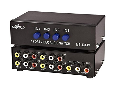 4 Port Video Audio Av Switch - 4 Input 1 Output - 4 DVD to 1 TV - Standard RCA Connectors - Av 4 Input Audio Video