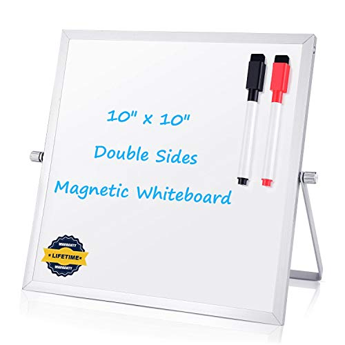 Small Dry Erase Board Whiteboard - Desktop Portable Mini White Board Desk Easel 10x 10, 360 Degree Reversible to Do List Notepad for Office, Home, School.