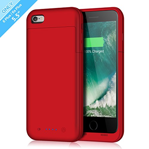 iPhone 6 Plus/6s Plus Battery Case,6800mAh Battery Pack Charger Case for 6 Plus Extended Portable Battery Charging Case for iPhone 6 Plus, 6s Plus-Red