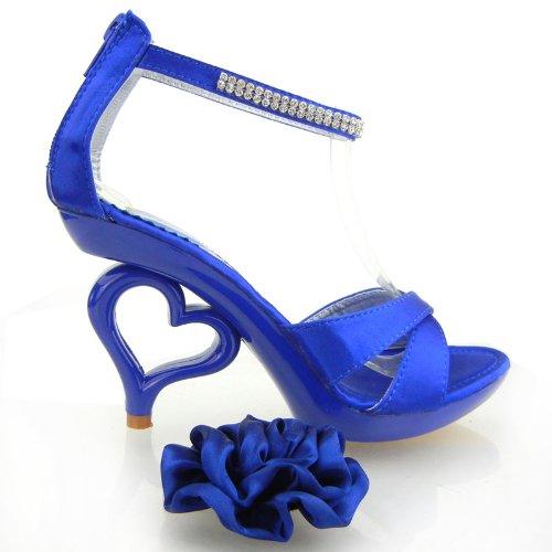 removibile Reale sposa colori Blu 20 Story SM33101 alla Mostra fiori da sandali scarpe dei caviglia cinturino sposa SHRXwcqW