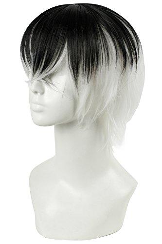 Lemail wig 30cm Mixed Color Black White Tokyo Ghoul Kaneki Ken Cosplay Wig ZY143B
