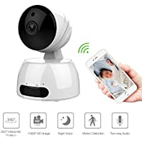 Baby Monitor, Wireless IP Camera WiFi 1080P HD Home Security Surveillance Camera with Motion Detection Night Vision Two-Way Audio for Baby/Pets/Elder(White)