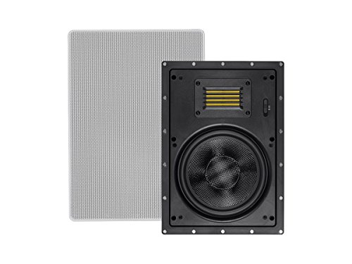 Monoprice Amber In-Wall Speakers 8-inch 2-way Carbon Fiber with Ribbon Tweeter (pair) by Monoprice