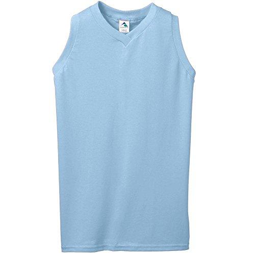 Augusta Sportswear 556 Women's Sleeveless V-Neck Poly/Cotton Jersey, Light Blue, Large Pack