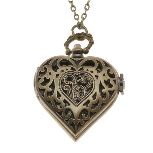- Steampunk Pocket Watch Pendant - Heart With Filigree Lid And Chain - 53x41mm