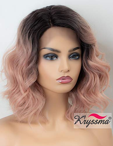 (K'ryssma Ombre Pink Lace Front Wig Wavy Rose Blonde Short Bob Synthetic Wig with Dark Roots L Part Pastel Pink Ombre Wigs with Deep Side)