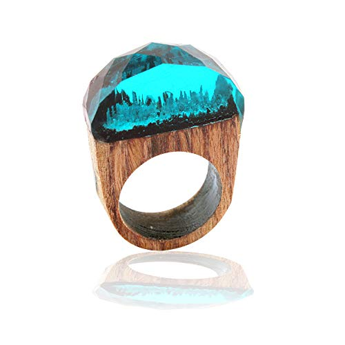 (winsopee 1pc 18mm Handmade Wood Resin Ring with Magnificent Tiny Fantasy Secret Landscape (B,8))