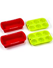 2 Silicone Bread and Loaf Pans - Includes 2 Free Bonus Muffin Pans - by LVKH (4 Piece Bakers Set)