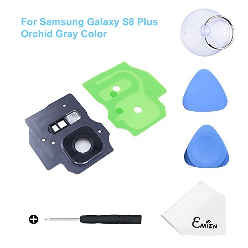 EMiEN Rear Back Camera Glass Lens Cover Frame with Adhesive + Flash Cover Pre-Installed Replacement Parts for Samsung Galaxy S8 Plus G955 (All Carriers) with Repair Tool Kit (Orchid Gray)