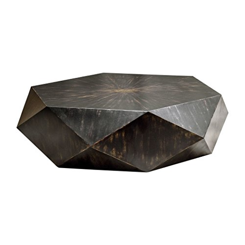 MY SWANKY HOME Faceted Large Round Wood Coffee Table | Modern Geometric Block Solid