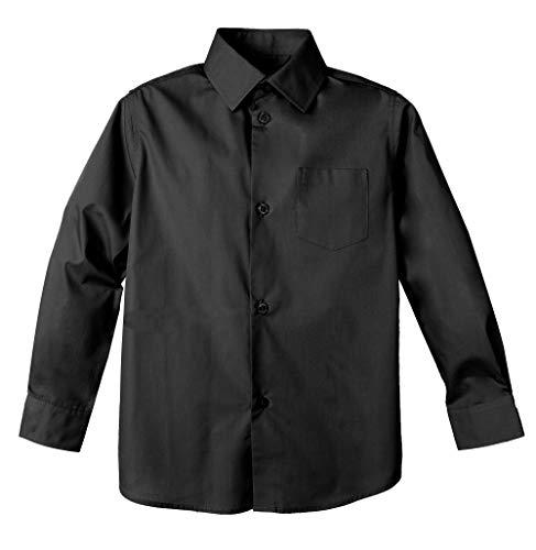 Spring Notion Big Boys' Long Sleeve Dress Shirt 12 Black