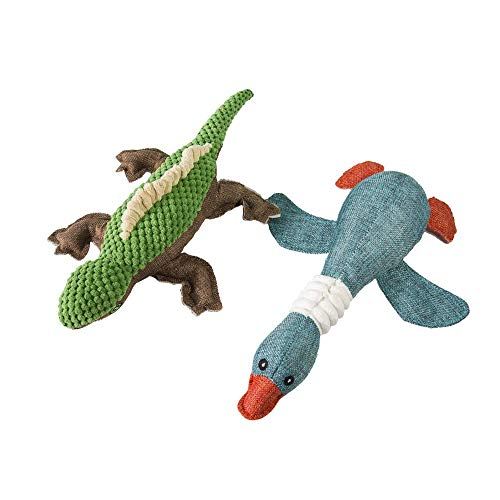 Lizard Animals (Bonng Duck Dog Toys Sackcloth Lizard Modeling Dog Toy Stuffed Animals Chew Toy Puppy Squeaky Plush Dog Toys for Medium and Small Pet Dogs (2 Packs))