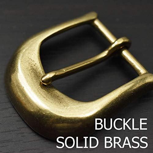 ブラス製 バックル レザーベルト用 国産 日本 ソリッドブラス 真鍮無垢製 馬蹄 ホースシュー バックル ベルト幅35mmまで