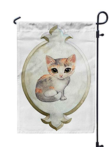HerysTa Spring Garden Flag, Decorative Yard Farmhouse Holiday Banner 12 x 18 inches Adorable Calico Big Green Cat Eyes in Painted Watercolor Elegant Vintage Plaque Double-Sided Seasonal Garden Flags