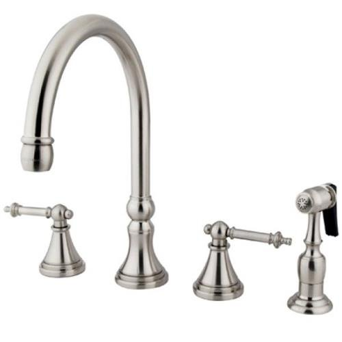 Kingston Brass KS2798TLBS Tuscany 8-Inch Deck Mount Widespread Kitchen Faucet with Brass Spray, Satin Nickel