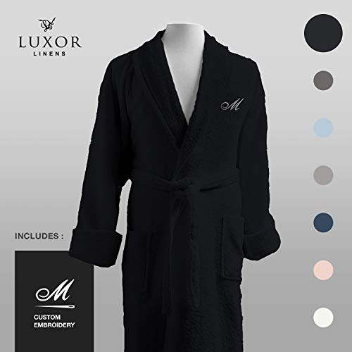 Luxor Linens - Terry Cloth Bathrobes - 100% Egyptian Cotton Bathrobe- Luxurious, Soft, Plush Durable Set of Robes (Black, Custom)