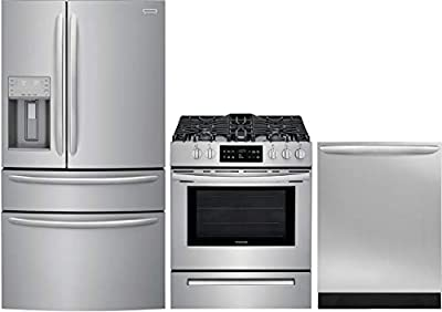 """Frigidaire Gallery 3 Piece Kitchen Appliance Package with FG4H2272UF 36"""" French Door Refrigerator, FFGH3054US 30"""" Slide-in Gas Range and FGID2466QF 24"""" Built In Fully Integrated Dishwasher in Stainles"""