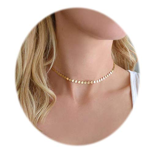 (Daycindy Minimalist Gold Coin Choker Disc Pendant Necklace Jewelry for Women)