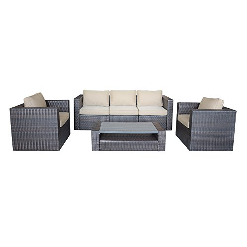 HUINING 6pc Wicker Furniture Patio Sectional Sofa Rattan Set with Coffer Table with PVC-wood composites,Cutions with Olefin Fabric,All Aluminum Frame,Outdoor,Backyard, Pool,Indoor,Bedroom