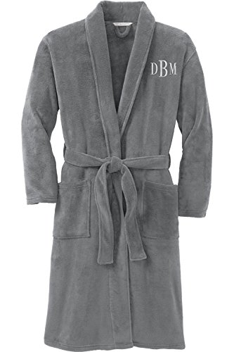 Personalized Plush Microfleece Robe with Embroidered Name, Smoke, Large/X-Large by Monogrammed Me