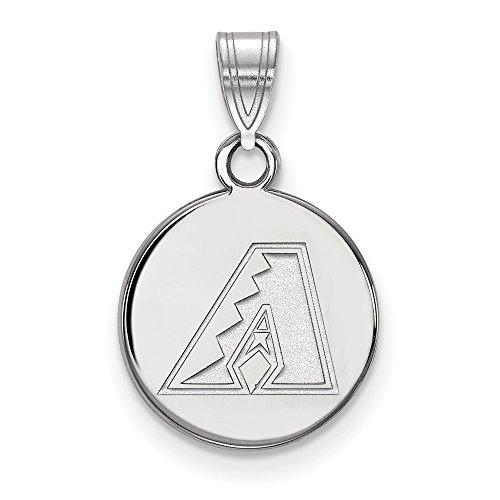 (MLB Arizona Diamondbacks Sterling Silver MLB LogoArt Arizona Diamondbacks Small Disc Pendant Size One)