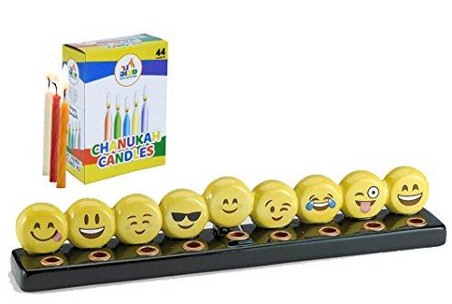 Emoji Menorah Set - (1) Emoji Menorah and (1) Box of 44 Colorful Candles
