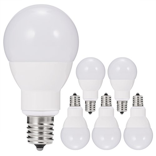 JandCase E17 Globe Light Bulbs, 40W Equivalent, 5W, 450 LM, Natural Daylight White 4000K, Slender G14 LED Bulbs for Ceiling Fan, Headboard Reading Light, Intermediate E17 Base, Not Dimmable, 6 Pack