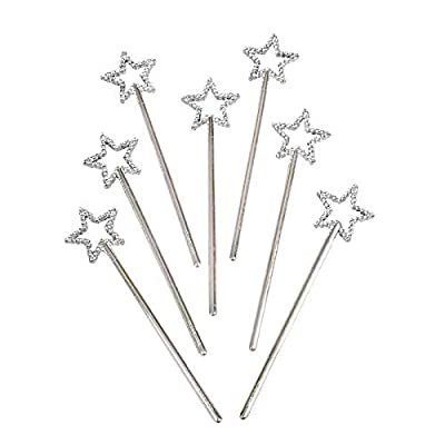 Rhode Island Novelty Mini Sequin Star Wands | Silver | Pack of 12: Home & Kitchen