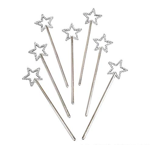 Rhode Island Novelty Mini Sequin Star Wands | Silver | Pack of 12