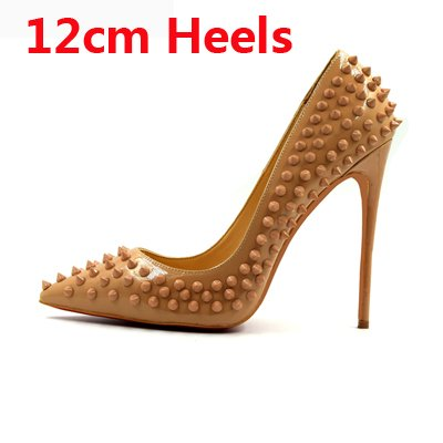 Pointed Women Lady 12cm Classical Spike Rivets Heels Shallow Heels High Thin Party Studs Shoes Fashion Party nude High VIVIOO Toe Shoes watvvq