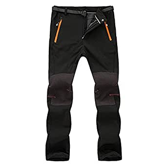 BaZhaHei Mujer Hombre Pantalones de Trekking Softshell Impermeables Resistente Escalada Vellón cálido Pantalones cáscara Viento Impermeable Invierno ...