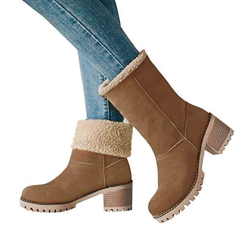 Blivener Women's Winter Snow Boots Suede Fur Chunky Heel Mid Calf Boots Khaki 39 from Blivener